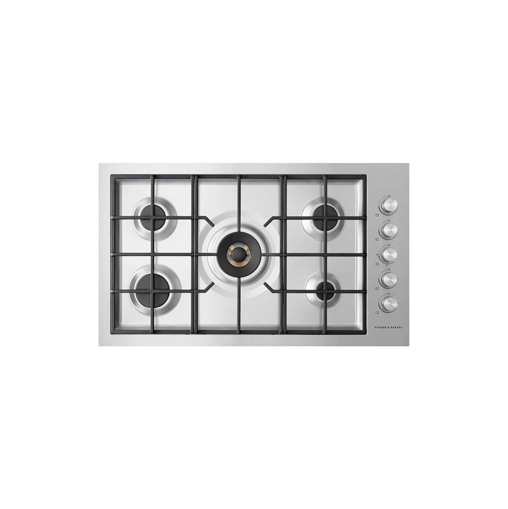 "Fisher & Paykel 36"" Contemporary Gas on Steel Cooktop, Flush Fit, LPG"