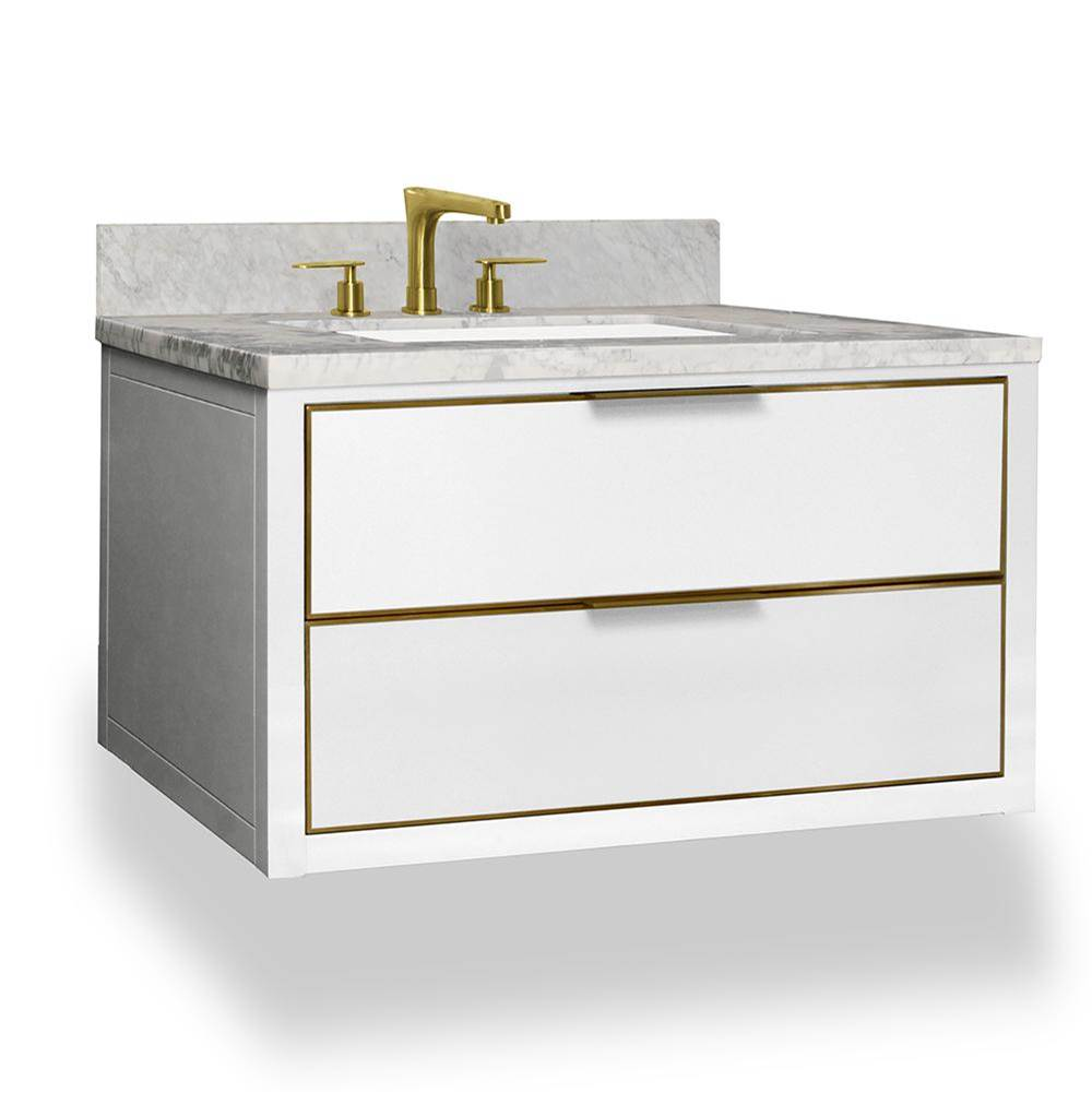 Icera Muse Wallhung Vanity 36-in, Gloss White with Satin Brass
