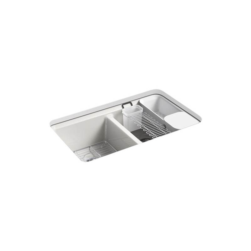 Kohler Riverby® 33'' x 22'' x 9-5/8'' undermount double-equal workstation kitchen sink with accessories and 5 oversized faucet holes