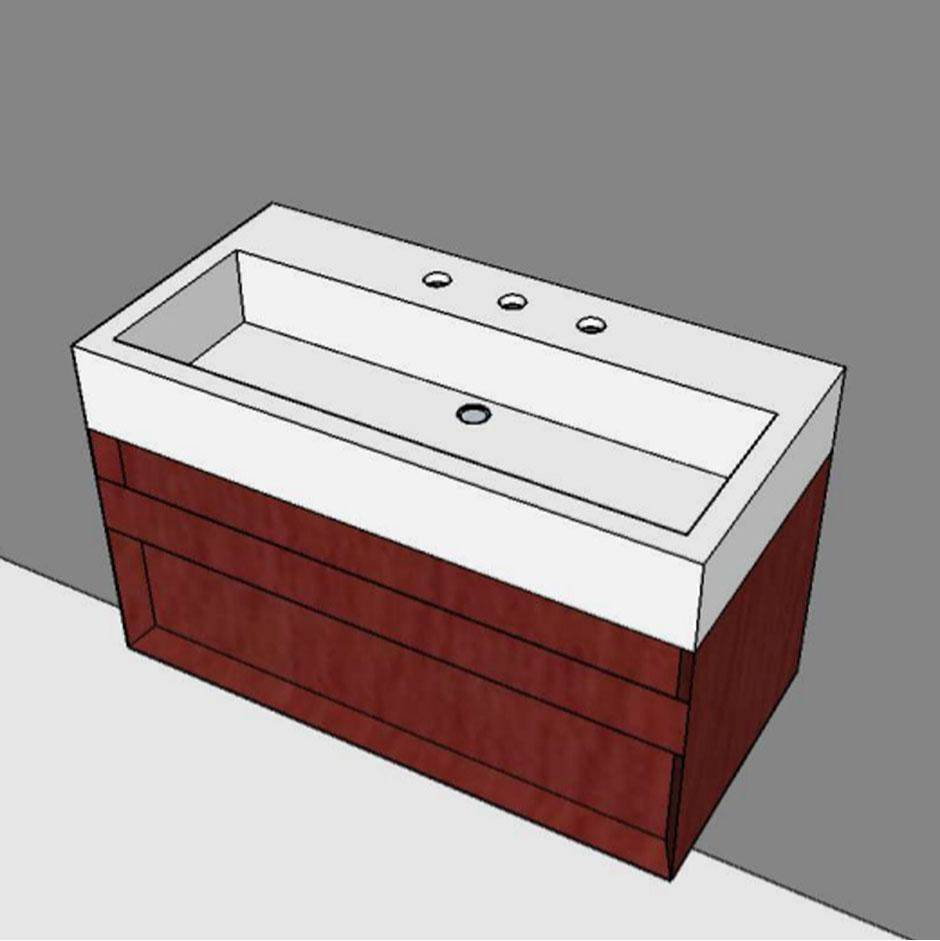Lacava Wall-mount under-counter vanity with finger pulls on one drawer, the drawer has U-shaped notch for plumbing. W: 291/4'', D: 14 1/4'', H: 12''.