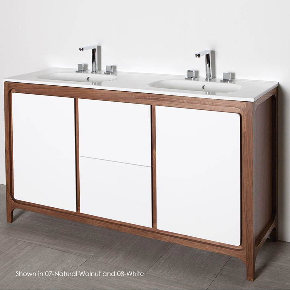 Lacava Free-standing under-counter double vanity with 2 doors and 2 drawers . W: 55'', D: 17 5/8'', H: 34''.