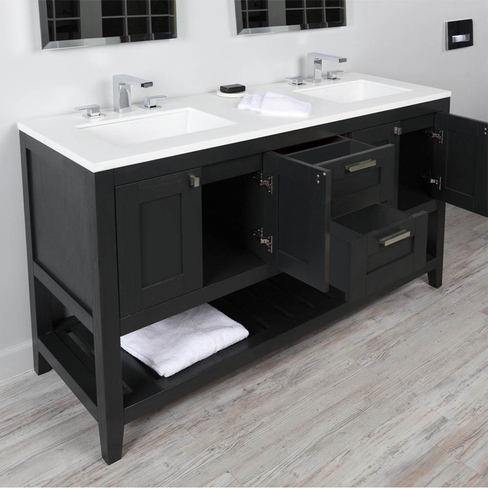 Lacava Free standing under-counter double vanity with two sets of doors(knobs included) on both sides, two drawers(knobs included) on the center and slotte